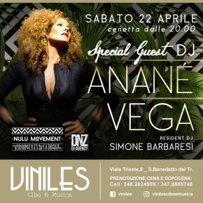 APRIL 22 ANANÉ VEGA at VINILES, (an Benedetto del Tronto,ITA)