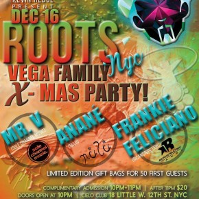 "DECEMBER 16 ANANÉ VEGA at ""ROOTS"" - CIELO  (New York)"