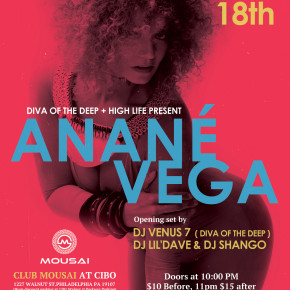 NOVEMBER 18 ANANÉ at CLUB MOUSAI (Philadelphia, PA)